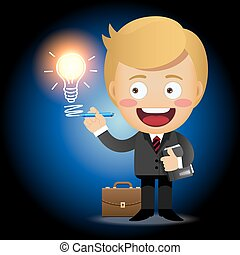 businessman with pen drawing light bulb