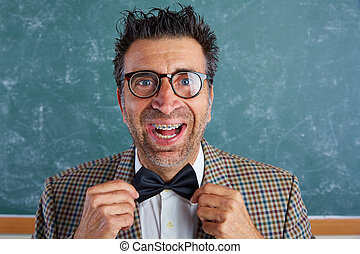 Nerd silly retro man with braces funny expression - Nerd...