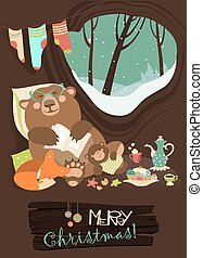 Cute bear with cub and little fox sleeping in his den - Cute...