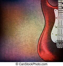 abstract grunge background with electric guitar - abstract...
