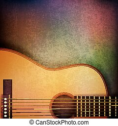 abstract grunge background with acoustic guitar - abstract...