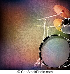 abstract grunge background with drum kit - abstract grunge...