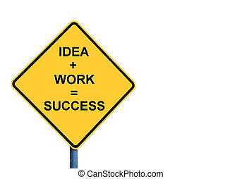 Yellow roadsign with IDEA plus WORK equals SUCCESS message