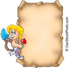 Valentine parchment with Cupid - color illustration