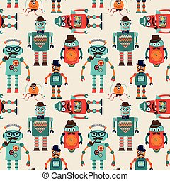 Seamless Pattern Background with Cute Hipster Robots -...