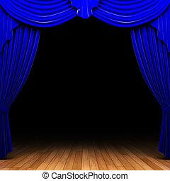 blue velvet curtain opening scene made in 3d