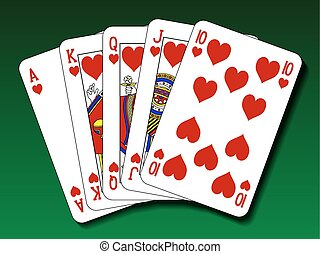 Poker hand - Royal flush heart