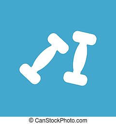 Two dumbbells icon, simple white image isolated on blue...