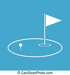 Golf area icon, simple white image isolated on blue...