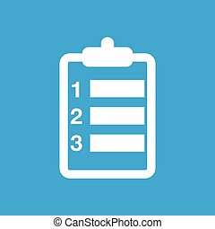 Plan icon, simple white image isolated on blue background