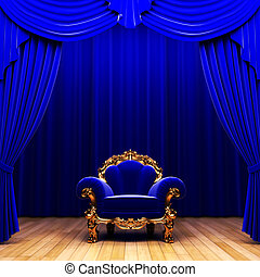 blue velvet curtain and chair made in 3d