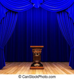 blue velvet curtain and Pedestal made in 3d