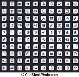 Business icon set, square - Business icon set, blue images...