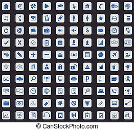 Webdesign icon set, square - Webdesign icon set, blue images...