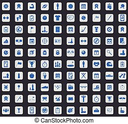 Sport icon set, square - Sport icon set, blue images in...