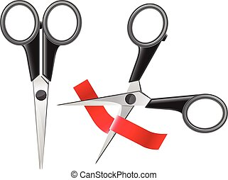Office scissors cutting red ribbon