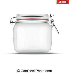 Glass Jar for canning and preserving. With locked lid.