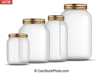 Set of Glass Jars for canning and preserving. With cover and...