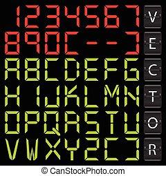 Digital alphabet design - vector illustration