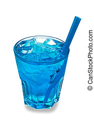 Blue cocktail in a glass isolated on a white background