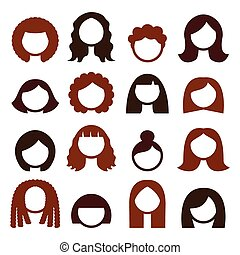 Brunette hair styles, wigs icons - Vector icons set isolated...