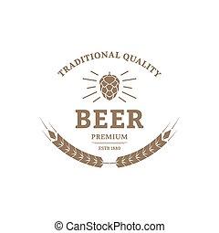 Beer logo design template Vintage label for brewer company