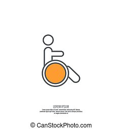 Symbol man on the wheelchair.