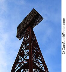 Floodlight. Stadium light tower. Close up. Nobody.