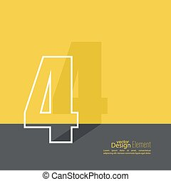 The number 4. one. abstract background. Outline. Logo or...