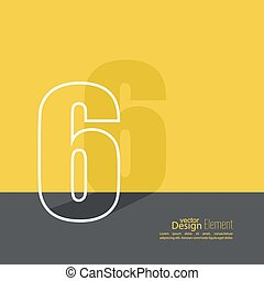 The number 6. one. abstract background. Outline. Logo or...