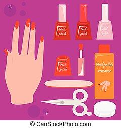 Woman hand and nail care set. - Woman hand, nail polish and...