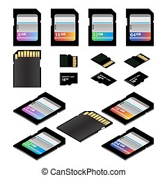 SD Memory Cards - SD and Micro SD memory flash cards vector...