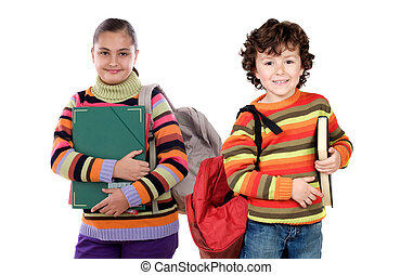 dos, niños, estudiantes, el volver, escuela