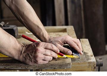 木制, 拿, 板條, 木匠, 測量