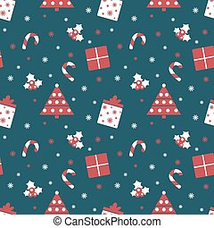 Merry Christmas and Happy New Year. Winter holiday background. Cute seamless pattern with red and blue colors.