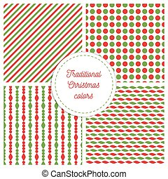 Set of simple retro geometric Christmas patterns. Traditional colors. Background can be copied without any seams.Vector garland endless textures