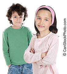 Two childrens students a over white background