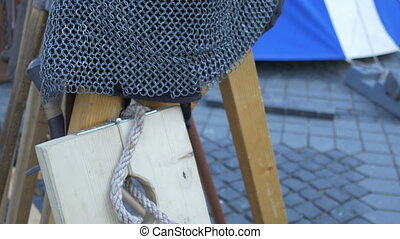Chain Mail Medieval Helmet - Steel helmet with nose cover...