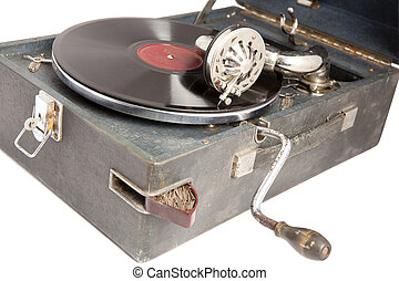 gramophone - old vintage acoustic gramopfone with black...