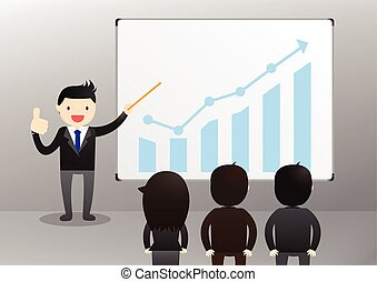 Businessman Presentation Concept - Businessman giving a...