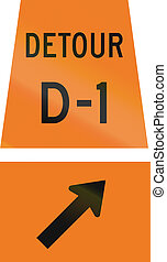 Detour D-1 Keep Right in Canada - Canadian temporary road...