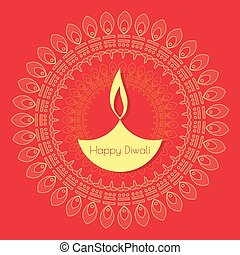 Abstract background with oil lit lamp with rangoli for...