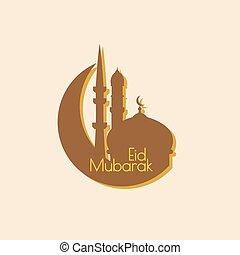 Arab mosque. minimal. Eid Mubarak. Vector abstract...