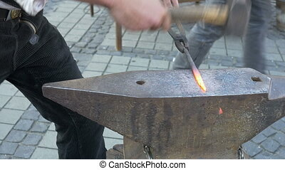 Blacksmith Hammers Iron - Blacksmith hammers hot forged iron...