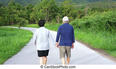 asian senior couple in the park - Video of Happy asian...