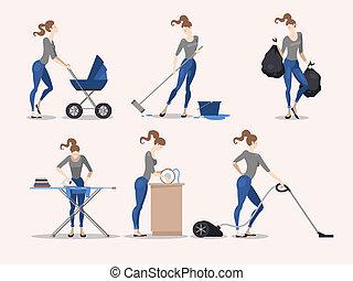 Illustrations of housework - Illustration of slim girl...