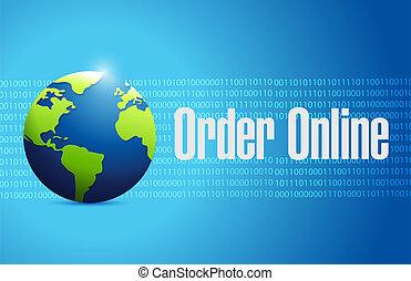 Order online international globe sign concept illustration...