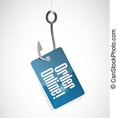 Order online fishing hook sign concept illustration design...