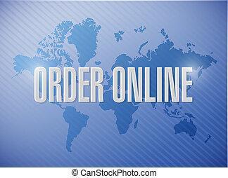 Order online international map sign concept illustration...