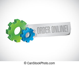Order online gear sign concept illustration design graphic